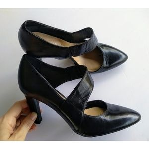 Franco Sarto Tito Black Leather Dress Pump Heels